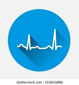 Electrocardiogram vector icon, sinus rhythm disturbance on blue background. Flat image with long shadow.