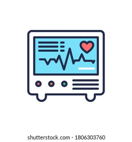 Electrocardiograph color line icon. Medical device for checking the patient's heart condition.Outline pictogram for web page, mobile app, promo.
