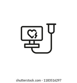 Electrocardiograph machine line icon. Cardiogram, clinic, fibrillation. Medicine concept. Vector illustration can be used for topics like medical equipment, cardiology, emergency