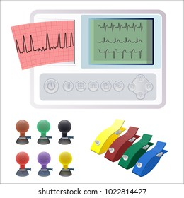 Electrocardiography ECG or EKG machine recording electrical activity of heart