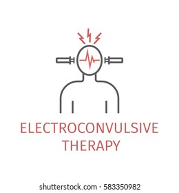 Electroconvulsive therapy. Vector icon for web graphic.