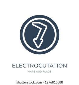 electrocutation danger icon vector on white background, electrocutation danger trendy filled icons from Maps and Flags collection, electrocutation danger vector illustration