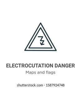 Electrocutation danger outline vector icon. Thin line black electrocutation danger icon, flat vector simple element illustration from editable maps and flags concept isolated on white background