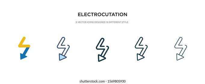 electrocution danger icon in different style vector illustration. two colored and black electrocution danger vector icons designed in filled, outline, line and stroke style can be used for web,