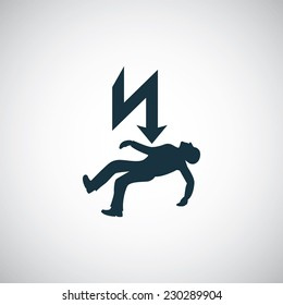 electrocution risk icon on white background