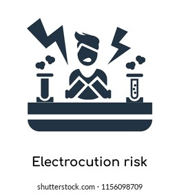Electrocution risk icon vector isolated on white background, Electrocution risk transparent sign , symbols or elements in filled style