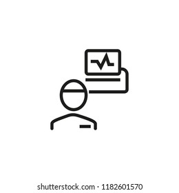 Electroencephalography line icon. Patient, monitor, brain activity scanning. Medical examination concept. Can be used for topics like health care, cerebral diagnostics, research, neurobiology