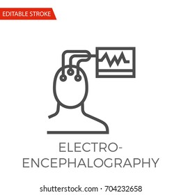 Electroencephalography Thin Line Vector Icon. Flat Icon Isolated on the White Background. Editable Stroke EPS file. Vector illustration.
