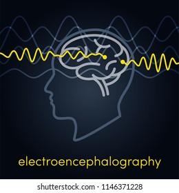 Electroencephalography vector concept. Brain wave measurement