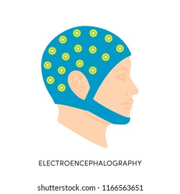 Electroencephalography vector concept. Brain wave measurement. Human head in EEG cap