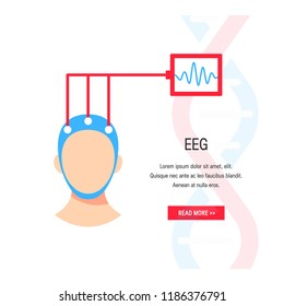 Electroencephalography vector concept. Brain wave measurement. Template for web banner