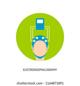 Electroencephalography vector icon. Brain wave measurement. Human head in EEG cap