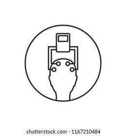 Electroencephalography vector line icon. Brain wave measurement. Human head in EEG cap