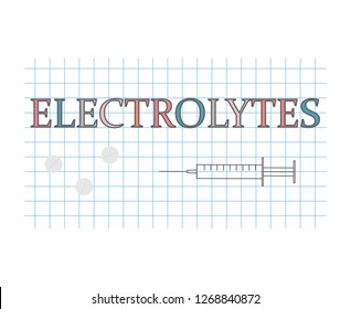 electrolytes word on checkered paper sheet- vector illustration