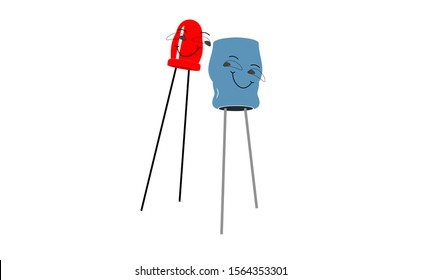 Electrolytic capacitor illustration in the vector not a ceramic capacitors. Capacitor icon of electronic part in the electrical engineering icons. This icon in the cartoon mode.