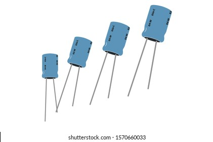 Electrolytic capacitor illustration in the vector not a ceramic capacitors. Capacitor icon of electronic part in the electrical engineering icons.