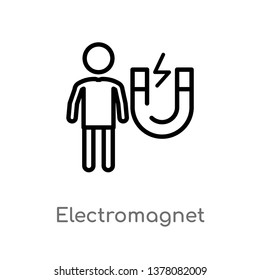 electromagnet vector line icon. Simple element illustration. electromagnet outline icon from people concept. Can be used for web and mobile