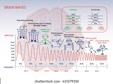 Electromagnetic spectrum of a brain. Scheme about brain waves, relation between the amplitude and frequency with person's state.