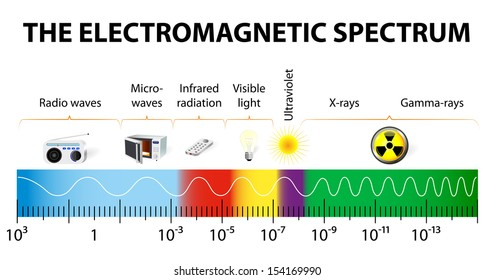 The electromagnetic spectrum vector diagram. different types of electromagnetic radiation by their wavelengths.  In order of increasing frequency and decreasing wavelength