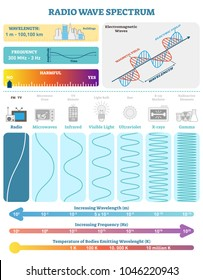 Electromagnetic Waves: Radio Wave Spectrum. Vector illustration diagram with wavelength, frequency, harmfulness and wave structure. Science educational information. Info poster.