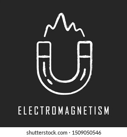 Electromagnetism chalk icon. Electromagnetic force. Branch of physics. Magnetic field physical phenomena. Magnetism effect. Horseshoe magnet. Isolated vector chalkboard illustration