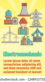Electromechanic concept banner. Cartoon banner of electromechanic vector concept for web, giftcard and postcard