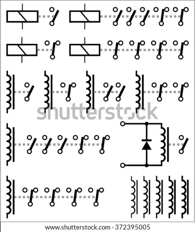 electromechanical relay symbols stock vector  royalty free