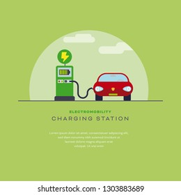 Electromobility concept. Electric car at charging station layout template flat design vector illustration