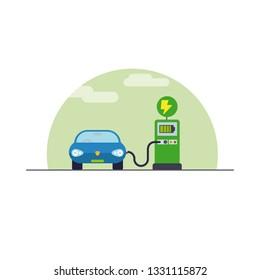 Electromobility concept. Electric car at charging station flat design vector illustration