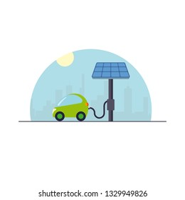 Electromobility concept. Electric compact car at solar powered charging station flat design vector illustration