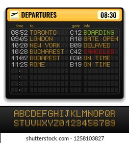 Electronic airport board realistic composition with yellow alphabets on board and departures info vector illustration
