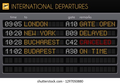 Electronic airport board realistic composition with international departures times gates and remarks descriptions vector illustration