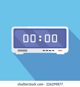 Electronic alarm clock icon. Modern Flat style with a long shadow