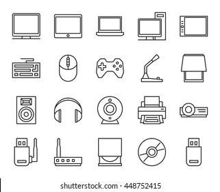 electronic and analog devices. basic set of simple linear icons
