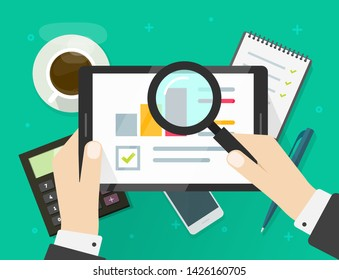 Electronic audit research report on tablet vector illustration, flat cartoon financial or quality analysis statistics with growth charts and graphs, auditor analyzing or search marketing data