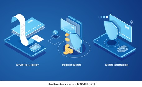 Electronic bill, online payment sms notification, pay history, finance data protection, smartphone with credit card and shield isometric vector illustration on blue background