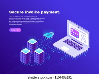 Electronic billing connection of laptop and database. Secure invoice payment. Electronics internet online financial tax transaction bill realistic 3d isometric vector concept on dark blue background
