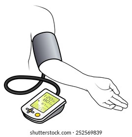 An electronic blood pressure monitor attached to an arm.