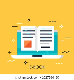 Electronic book icon, digital reading concept, internet learning, e-book library, online magazine. Vector illustration in flat style for website, banner, header, advertisement, presentation.