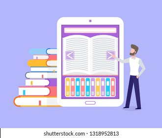 Electronic book with library for free students access vector. Ebook with opened page, man touching screen of tablet. Education printed materials in cover
