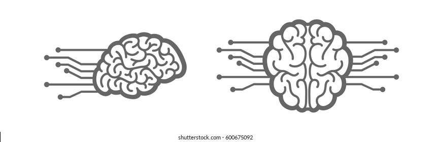 Electronic brain icon. Artificial intelligence