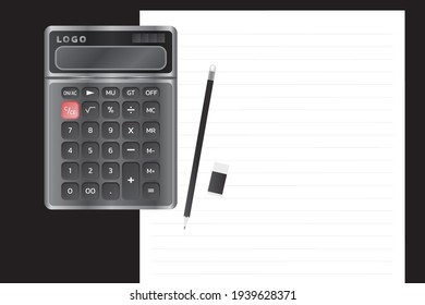 Electronic calculator with shadow in flat style. vector illustration.