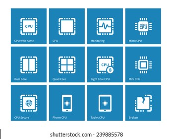 Electronic chip icons on blue background. Vector illustration.