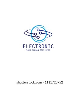 electronic chip technology icon vector template