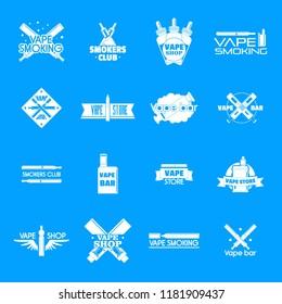 Electronic cigarette mod cig smoke logo icons set. Simple illustration of 25 electronic cigarette mod cig smoke vector logotype icons for web