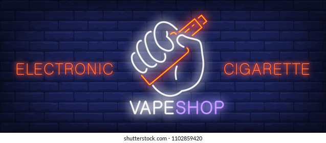 Electronic cigarette neon sign. Hand holding vape device. Vector illustration in neon style for vape shop or retail