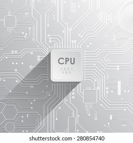 Electronic Circuit Design With CPU And Long Shadow Vector Illustration