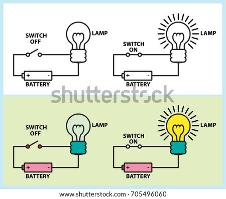 electronic circuit lighting lamp diagram stock vector royalty free rh shutterstock com Vector Quantity Basic Vector Diagram in Physics