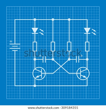 Electronic Circuit Scheme Blueprint Background Stock Vector (Royalty ...