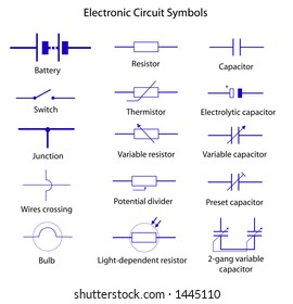 Collection Vector Blueprint Electronic Circuit Symbols Stock Vector ...